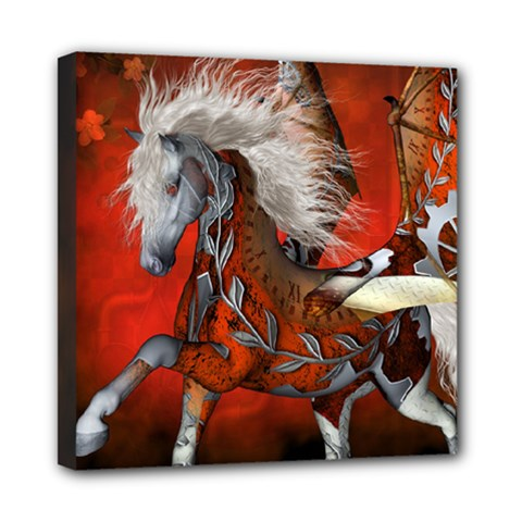 Awesome Steampunk Horse With Wings Mini Canvas 8  X 8  by FantasyWorld7