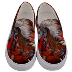 Awesome Steampunk Horse With Wings Men s Canvas Slip Ons