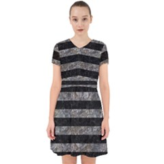 Stripes2 Black Marble & Gray Stone Adorable In Chiffon Dress