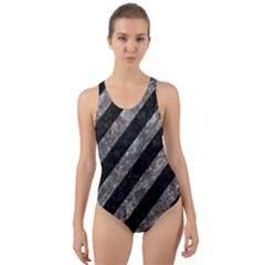 Stripes3 Black Marble & Gray Stone Cut Out Back One Piece Swimsuit