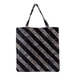 Stripes3 Black Marble & Gray Stone (r) Grocery Tote Bag by trendistuff