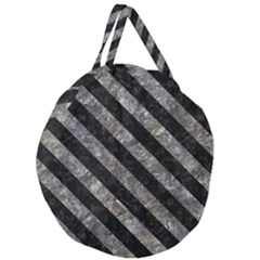 Stripes3 Black Marble & Gray Stone (r) Giant Round Zipper Tote by trendistuff
