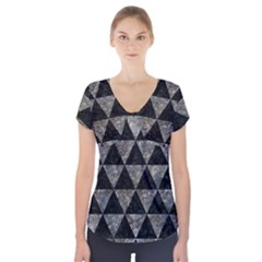 Triangle3 Black Marble & Gray Stone Short Sleeve Front Detail Top