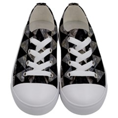 Triangle3 Black Marble & Gray Stone Kids  Low Top Canvas Sneakers