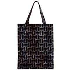 Woven1 Black Marble & Gray Stone (r) Zipper Classic Tote Bag by trendistuff