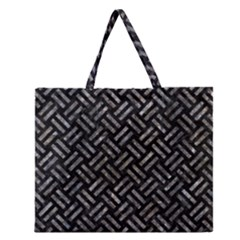 Woven2 Black Marble & Gray Stone Zipper Large Tote Bag by trendistuff