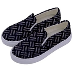 Woven2 Black Marble & Gray Stone Kids  Canvas Slip Ons by trendistuff