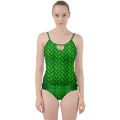 Brick2 Black Marble & Green Brushed Metal (r) Cut Out Top Tankini Set by trendistuff