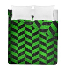Chevron1 Black Marble & Green Brushed Metal Duvet Cover Double Side (full/ Double Size) by trendistuff