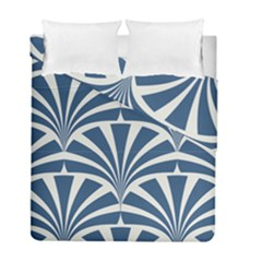 Teal,white,art Deco,pattern Duvet Cover Double Side (full/ Double Size) by 8fugoso