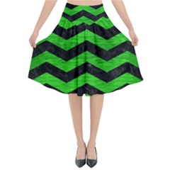 Chevron3 Black Marble & Green Brushed Metal Flared Midi Skirt by trendistuff