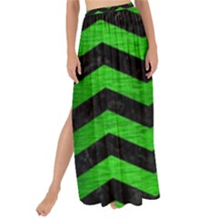 Chevron3 Black Marble & Green Brushed Metal Maxi Chiffon Tie Up Sarong by trendistuff