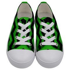 Chevron3 Black Marble & Green Brushed Metal Kids  Low Top Canvas Sneakers