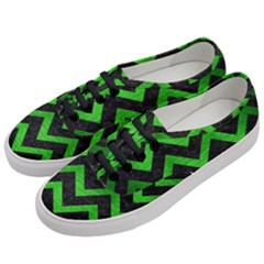 Chevron9 Black Marble & Green Brushed Metal Women s Classic Low Top Sneakers by trendistuff
