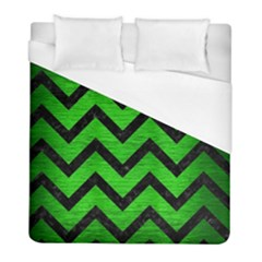 Chevron9 Black Marble & Green Brushed Metal (r) Duvet Cover (full/ Double Size) by trendistuff