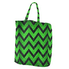 Chevron9 Black Marble & Green Brushed Metal (r) Giant Grocery Zipper Tote