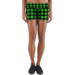 Circles1 Black Marble & Green Brushed Metal Yoga Shorts