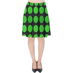 Circles1 Black Marble & Green Brushed Metal Velvet High Waist Skirt by trendistuff
