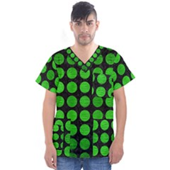 Circles1 Black Marble & Green Brushed Metal Men s V Neck Scrub Top