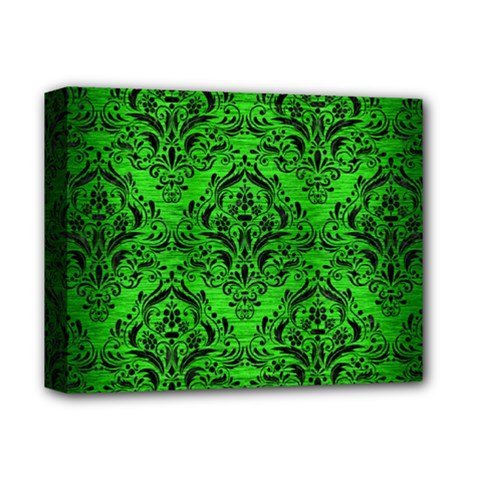 Damask1 Black Marble & Green Brushed Metal (r) Deluxe Canvas 14  X 11  by trendistuff