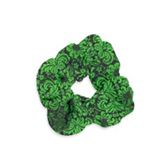 Damask2 Black Marble & Green Brushed Metal Velvet Scrunchie by trendistuff