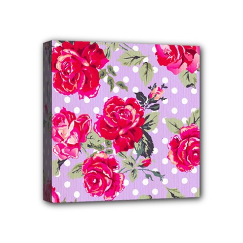 Shabby Chic,pink,roses,polka Dots Mini Canvas 4  X 4  by 8fugoso