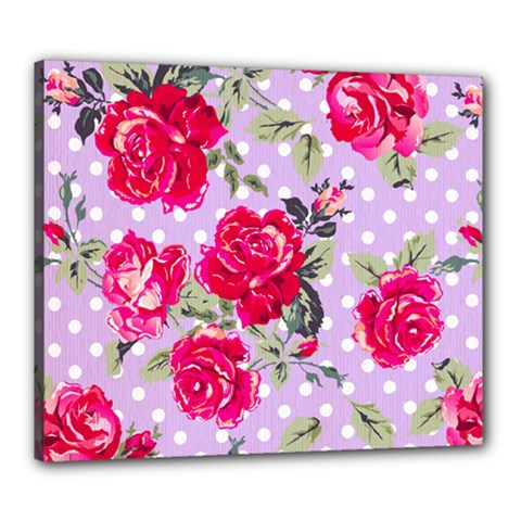 Shabby Chic,pink,roses,polka Dots Canvas 24  X 20  by 8fugoso