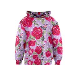 Shabby Chic,pink,roses,polka Dots Kids  Pullover Hoodie by 8fugoso