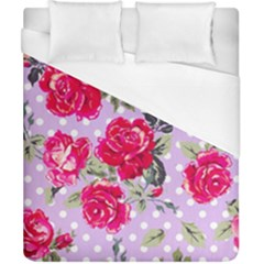 Shabby Chic,pink,roses,polka Dots Duvet Cover (california King Size) by 8fugoso