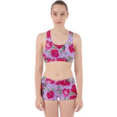 Shabby Chic,pink,roses,polka Dots Work It Out Sports Bra Set by 8fugoso