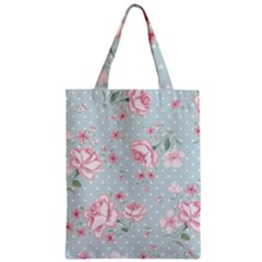 Shabby Chic,pink,roses,polka Dots Zipper Classic Tote Bag by 8fugoso