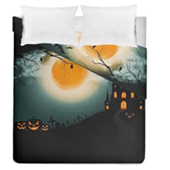 Halloween Landscape Duvet Cover Double Side (queen Size)