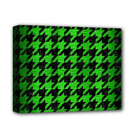 Houndstooth1 Black Marble & Green Brushed Metal Deluxe Canvas 14  X 11  by trendistuff