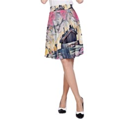 Modern Abstract Painting A Line Skirt by 8fugoso