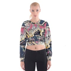 Modern Abstract Painting Cropped Sweatshirt by 8fugoso