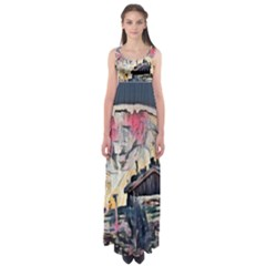 Modern Abstract Painting Empire Waist Maxi Dress by 8fugoso