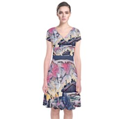 Modern Abstract Painting Short Sleeve Front Wrap Dress by 8fugoso