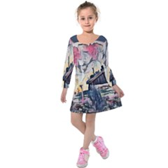 Modern Abstract Painting Kids  Long Sleeve Velvet Dress by 8fugoso