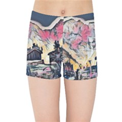 Modern Abstract Painting Kids Sports Shorts by 8fugoso