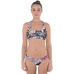 Modern Abstract Painting Cross Back Hipster Bikini Set by 8fugoso