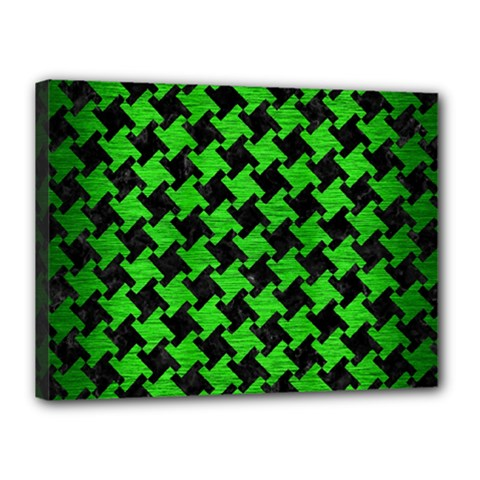 Houndstooth2 Black Marble & Green Brushed Metal Canvas 16  X 12  by trendistuff
