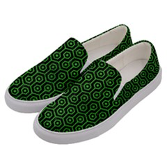 Hexagon1 Black Marble & Green Brushed Metal Men s Canvas Slip Ons by trendistuff