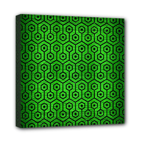 Hexagon1 Black Marble & Green Brushed Metal (r) Mini Canvas 8  X 8  by trendistuff