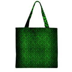 Hexagon1 Black Marble & Green Brushed Metal (r) Zipper Grocery Tote Bag by trendistuff