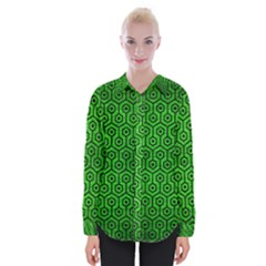Hexagon1 Black Marble & Green Brushed Metal (r) Womens Long Sleeve Shirt