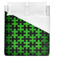 Puzzle1 Black Marble & Green Brushed Metal Duvet Cover (queen Size) by trendistuff