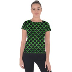 Scales1 Black Marble & Green Brushed Metal Short Sleeve Sports Top  by trendistuff