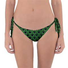 Scales2 Black Marble & Green Brushed Metal Reversible Bikini Bottom