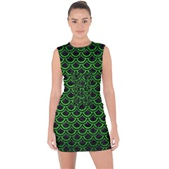 Scales2 Black Marble & Green Brushed Metal Lace Up Front Bodycon Dress