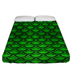 Scales2 Black Marble & Green Brushed Metal (r) Fitted Sheet (king Size) by trendistuff